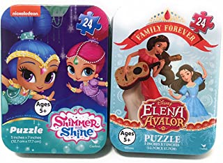 Mini Jigsaw Puzzles: Elena of Avalor - Shimmer and Shine (24 Pieces Each) in Travel Tin Boxes - Girls Collectible Set of 2