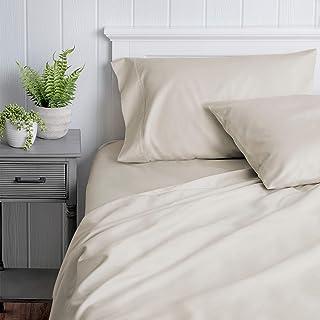 Welhome 500 Thread Count 100% Cotton Sateen Twin Sheet Set - 3 Piece - Softer - Durable - Classic - All Season Bed Sheet Set - Deep Pocket - Easy fit -Bone