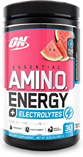 Optimum Nutrition Amino Energy + Electrolytes - Pre Workout, BCAAs, Amino Acids, Keto Friendly, Energy Powder -Watermelon Splash, 30 Servings