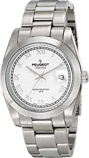 Peugeot Swiss Silver Stainless Steel White Roman Numeral Dress Bracelet PS4911S