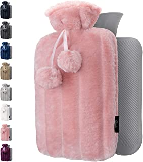 Hot Water Bottle with Soft Cover - 1.8L Large - Hot Water Bag for Pain Relief, Cramps, Back, Neck, Feet, Menstrual Cramps,...