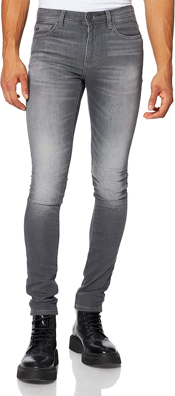 Armani Exchange Super Skinny Light Wash Jeans, Grey Denim, XS para Hombre