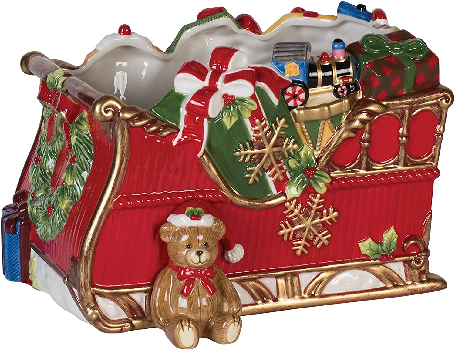 Fitz and Floyd 55-008 Christmas Sleigh Serving Bowl, Red