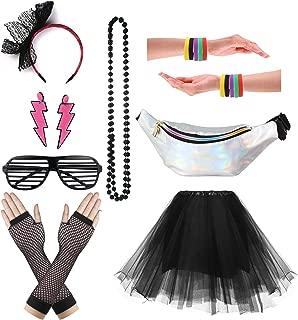 Women's 80s Outfit Accessories Neon Earrings Leg Warmers Gloves Tutu Skirt