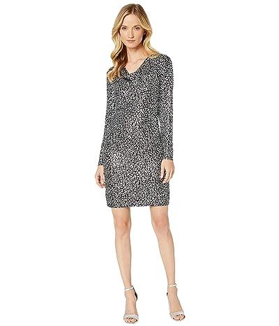 MICHAEL Michael Kors Catty Foil Cowl Back Dress (Black/Silver) Women