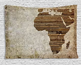 Ambesonne African Tapestry, Geography Theme Grunge Vintage Wooden Plank and Map Digital Print, Wide Wall Hanging for Bedroom Living Room Dorm, 60