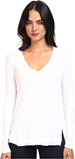 1x1 Long Sleeve V-Neck Top