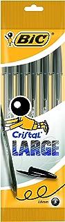 BIC Cristal Large bolígrafos Punta Ancha (1,6 mm) - Negro, Blíster de 5 unidades