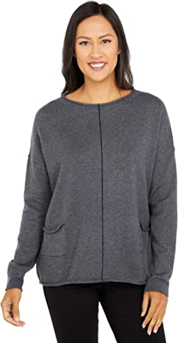 Cotton Cashmere Sweater with Center Contrast Stripe Detail