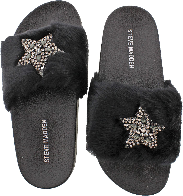 Steve Madden Women's Shimmer Faux Fur Sandal