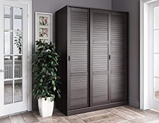 100% Solid Wood 3-Sliding Door Wardrobe/Armoire/Closet or Mudroom Storage by Palace Imports, Java. 1 Large/4 Small Shelves, 1 Rod Included. Extra Large Shelves Sold Separately. Requires Assembly