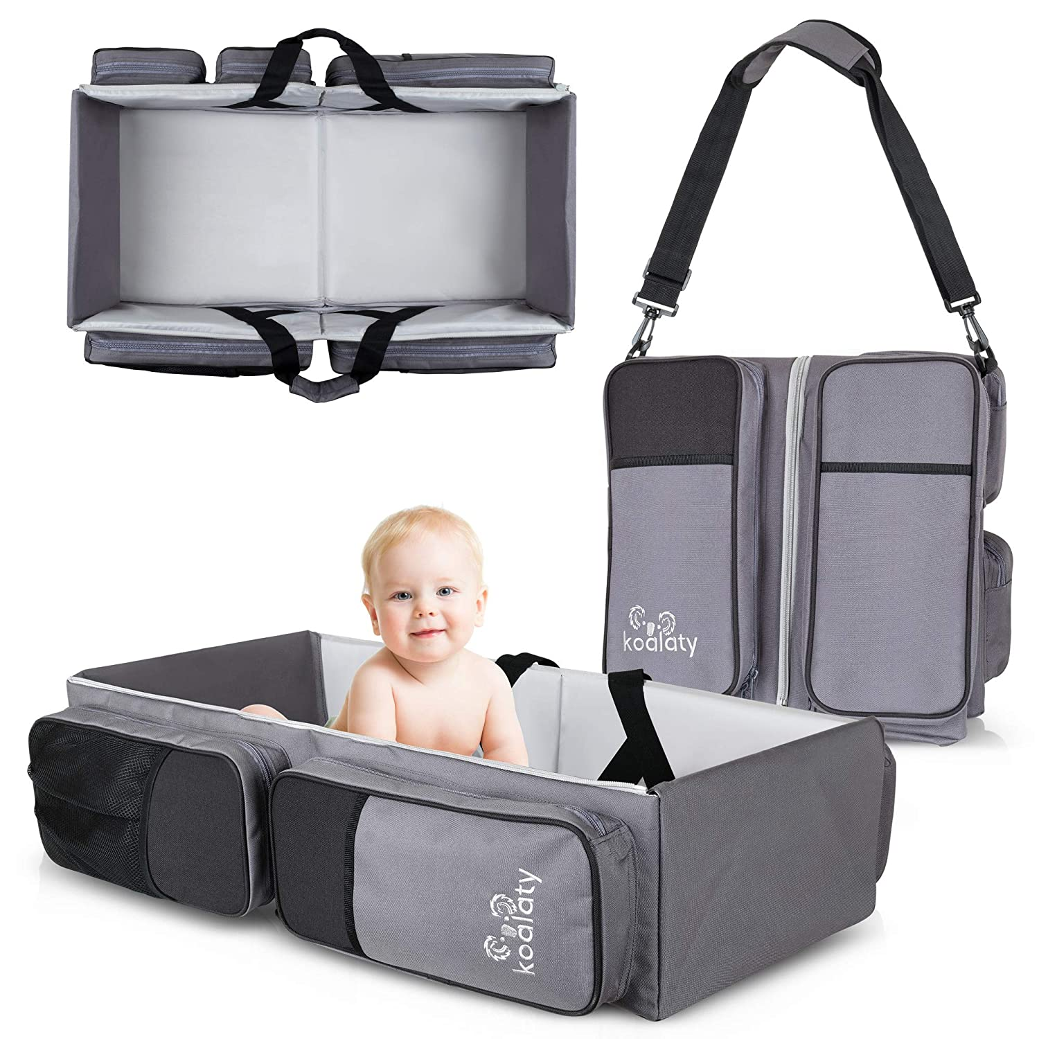 Koalaty 3-in-1 Universal Baby Travel Bag, Diaper Bag, Changing Station, Portable Bassinet Crib- 7.5x13x29 Inches, for Infants and Newborns. Registry Gift, Shower Gift.