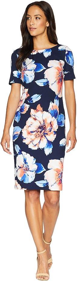 Floral Scuba Crepe Sheath Dress