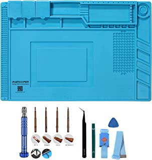 Heat Insulation Silicone Repair Mat with Screwdriver Repair Tool Set and anti-static wrist strap, Tweezer & Scraper for Soldering Iron, Phone and Computer Repair Size:17.7 x 11.8 Inches