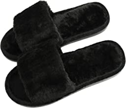 Women's Fuzzy Fluffy Furry Fur Slippers Flip Flop Open Toe Cozy House Memory Foam Sandals Slides Soft Flat Comfy Anti-Slip...