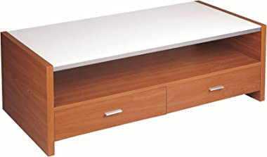 """New Spec Cota Mdf TV Stand with Tempered Frosted Glass and 2 Drawers fits TV from 15"""" up to 46"""""""