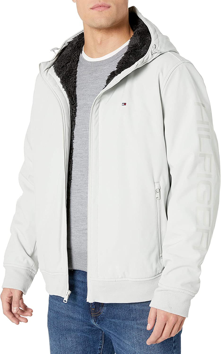Tommy Max 53% OFF Hilfiger Men's Softshell Hoody Sherpa Jacket Fresno Mall Bomber with L