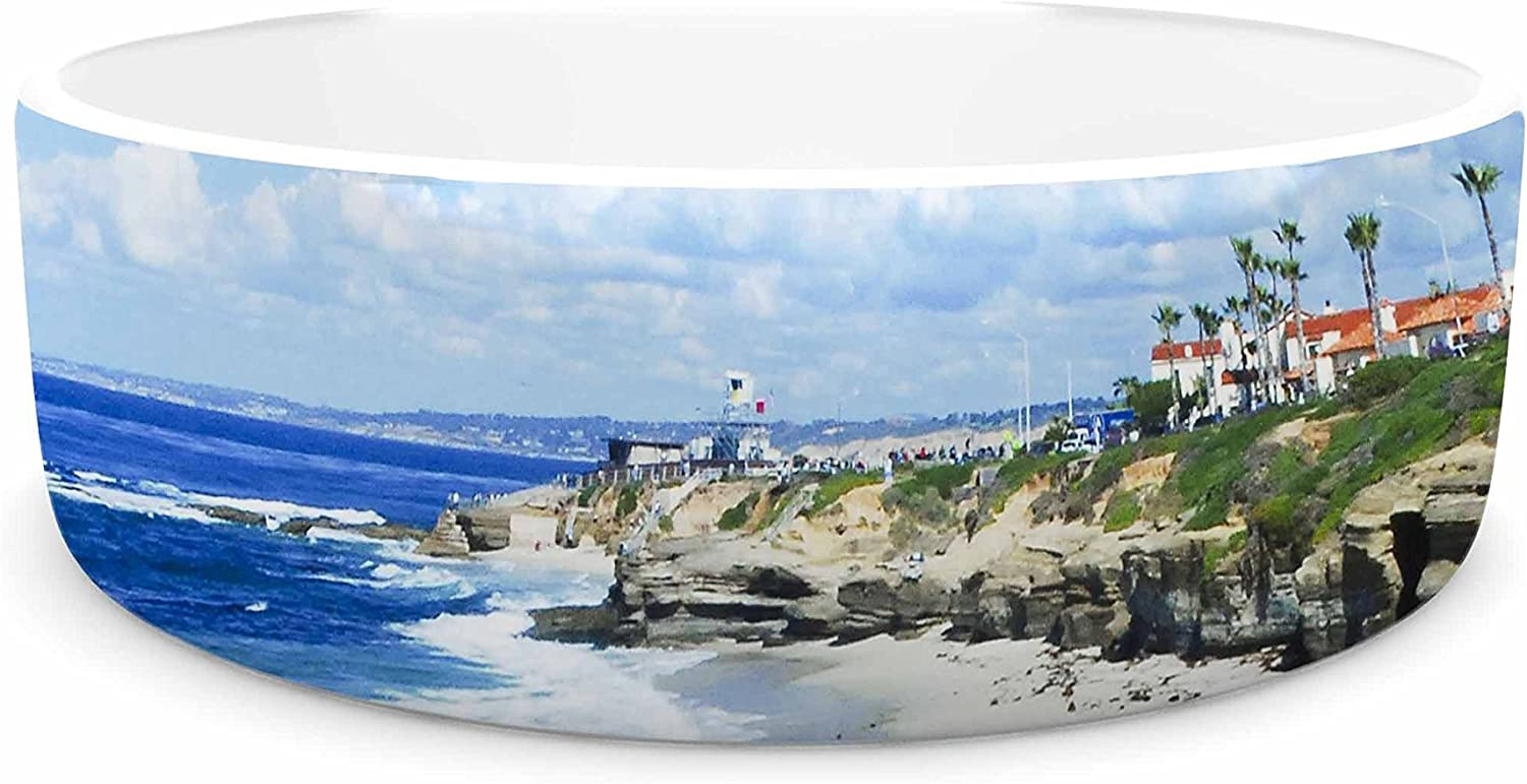 KESS InHouse Nick Nareshni Beach Playground  bluee White Pet Bowl, 7