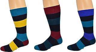 Sierra Socks Men's Dress Casual 3 Pair Pack Combed Cotton Crew Stripe Pattern Socks