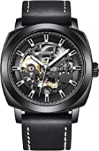 BENYAR Automatic Mechanical Watches for Men Skeleton Black Leather Watch Waterproof Business Men's Wrist Watches Gift for Men 5121