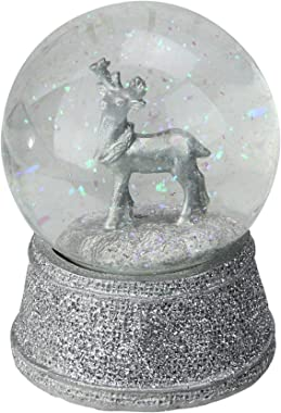 """Northlight 5.5"""" Silver Glittered Reindeer Christmas Snow Globe Glittering Snow Dome"""