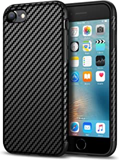 Tasikar Compatible with iPhone 7 Case/iPhone 8 Case Good Grip Slim Case Carbon Fiber Leather Design for iPhone 7 / iPhone 8 (Black)