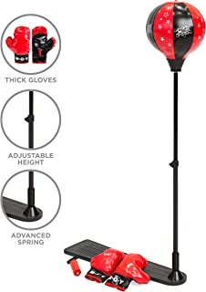 Best Choice Products 34-51-Inch Adjustable Standing Punching Bag w/ Metal Stand and Gloves