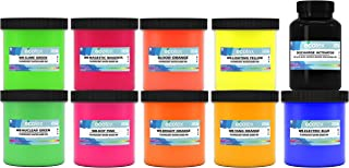 Ecotex Water Based Fluorescent Discharge Ink KIT for Screen Printing - 9 Pints of Ink and Discharge Activator - Fabric/Textile