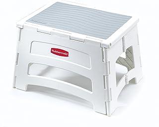 Rubbermaid RM-PL1W Folding 1-Step Plastic Stool, 300-pound Capacity, White