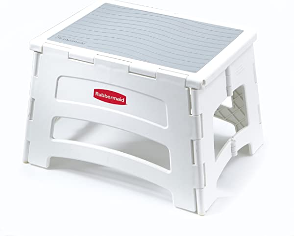 Rubbermaid RM PL1W Folding 1 Step Plastic Stool 300 Pound Capacity White