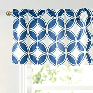 Annlaite Geo Valance for Windows(52 by 18 inches) Elegant Colorful Printed Room Darkening Window Curtain Valance for Kitch...