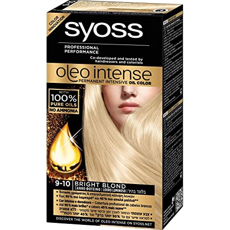 Syoss Oleo Intense Tinte para el cabello 100% aceites puros, 0% amoníaco 9-10 rubio brillante