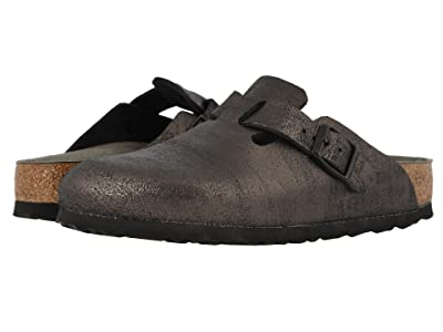 Birkenstock Boston (Washed Metallic Antique Black Leather) Women