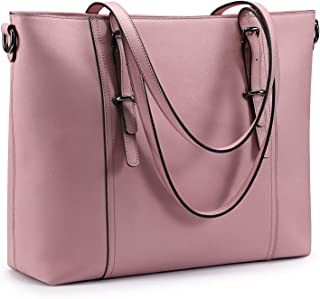 S-ZONE 15.6 inch Leather Laptop Tote Bag for Women Large Computer Shoulder Purse