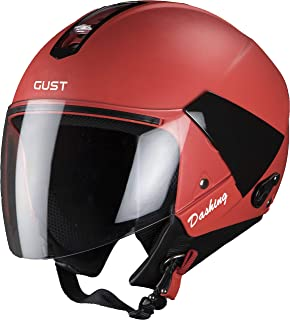 Steelbird SB-33 7Wings Gust Dashing Open Face Helmet (Medium 580 MM, Red with Plain Visor)