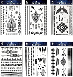 GGSELL GGSELL tattoo 6pcs Black lace temporary tattoos in one packages,including black jewelry lace,black totem lace,elephant,feathers,black flower totem,indian trial jewelry tattoos