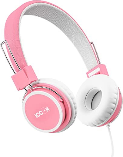 ICCON BAZINGA | The safest premium wired headphones for girls & boys as per volume limiting (<85 dB) hearing safety standards defined by World Health Organisation guidelines| headphones for kids with mic and in line controller | Pink headphones