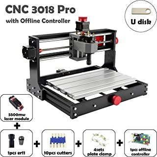 Mostics CNC 3018 Pro with 5.5W laser module CNC Laser engraver CNC carving machine PCB PVC Wood router Milling machine CNC Laser engraving machine XYZ:300x180x45 (CNC 3018 Pro, with 5.5W laser module)