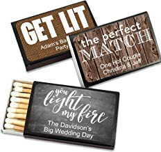 Perfect Match Personalized Matches for Wedding Favors - Custom Wedding Matches (Set of 50 Matchboxes) (Black Box)
