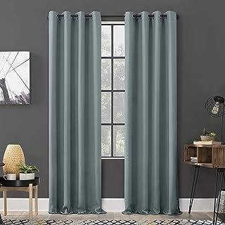 "Sun Zero Soho 2-pack Energy Efficient Blackout Grommet Curtain Panel Pair, 54"" x 108"", Mineral"