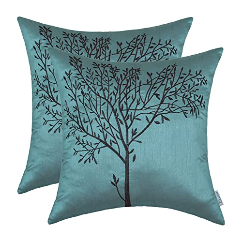CaliTime Pack Of 2 Cushion Covers Throw Pillow Cases Shells Sofa Couch Home  Decoration Natural Tree
