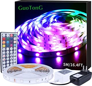 GuoTonG 16.4ft/5m LED Strip Light Kit 150 Units RGB 5050 Leds Color Changing Non-Waterproof 12V DC Light Strips44 Key IR R...