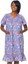 AmeriMark Casual Print Sun Dress House Dress Lounger Short Sleeves with Pockets