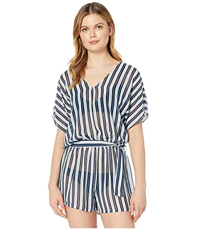 MICHAEL Michael Kors Marine Stripe V-Neck Romper Cover-Up (Black Multi) Women