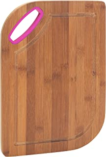 Bamboo Countertop 8 x 11 Inch Wood Cutting Board with Pink Cutout Handle