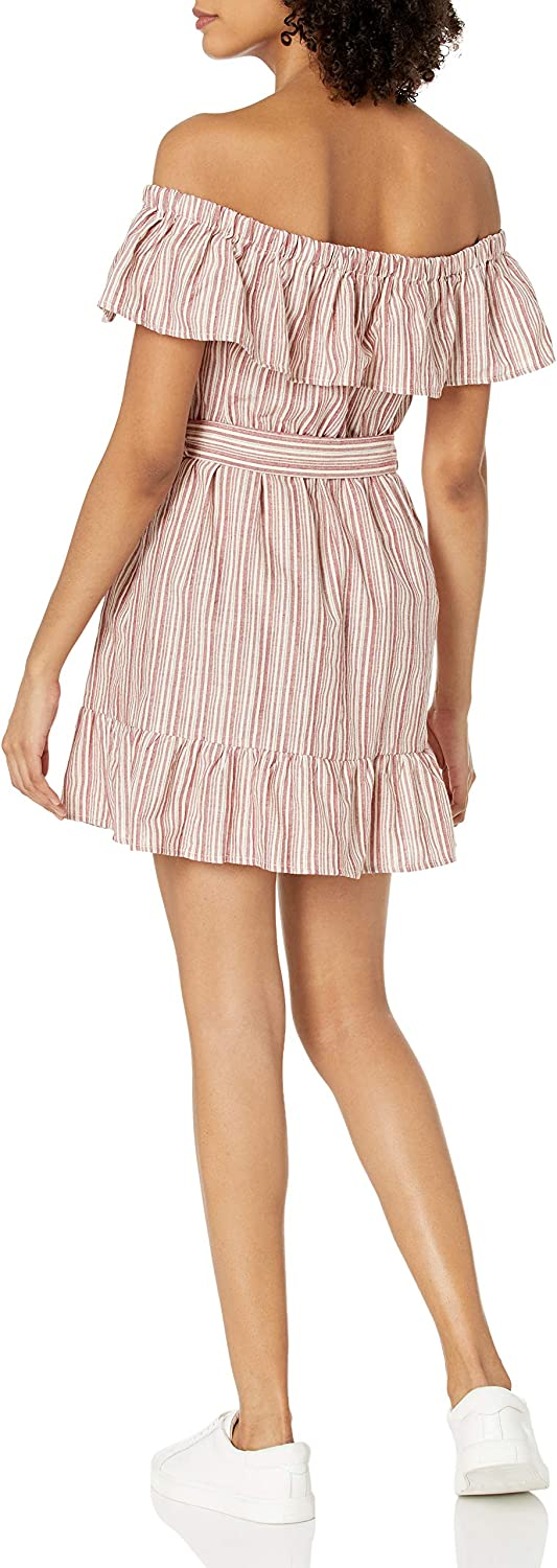 Speechless Womens Off-The-Shoulder Fit and Flare Ruffled Dress
