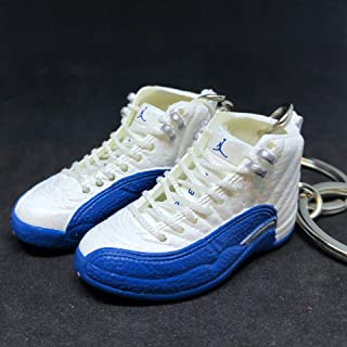 Pair Air Jordan XII 12 Retro French Blue White OG Sneakers Shoes 3D Keychain 1:6 Figure