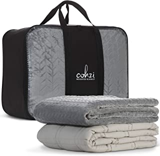 Cohzi Weighted Blanket 10 Pounds - Includes Removable Weighted Blanket Cover Machine Washable Cool Cotton and Soft Velvet for Kids Travel Calming Anxiety Sleep Throw Size 41 x60