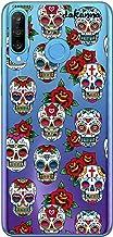 dakanna Funda para [Huawei P30 Lite] de Silicona Flexible, Dibujo Diseño [Pattern Calaveras de azucar Estilo Mexicano con Flores], Color [Fondo Transparente] Carcasa Case Cover de Gel TPU
