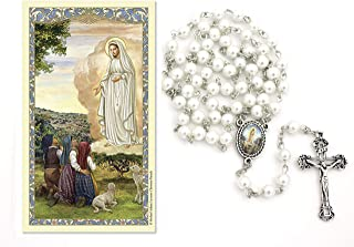 Our Lady of Fatima White Pearl Rosary and Prayer Card Gift Set (Includes White 6mm Pearl Rosary Necklace with Silver Tone Crucifix and Our Lady of Fatima Medal Centerpiece and Our Lady of Fatima Lam